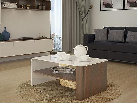 elbectrade Camber Moderno Mesa diseño Acabado Blanco y Walnut ...