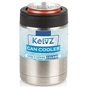 KelvZ Insulated Stainless Can Cooler Beer Holder - Fits All Standard 12oz Cans & Bottles + Bonus 2 Stylish Can Coolies - Bottle & Can Holder, No-Sweat Ergonomic Design - Sleek & Effective!