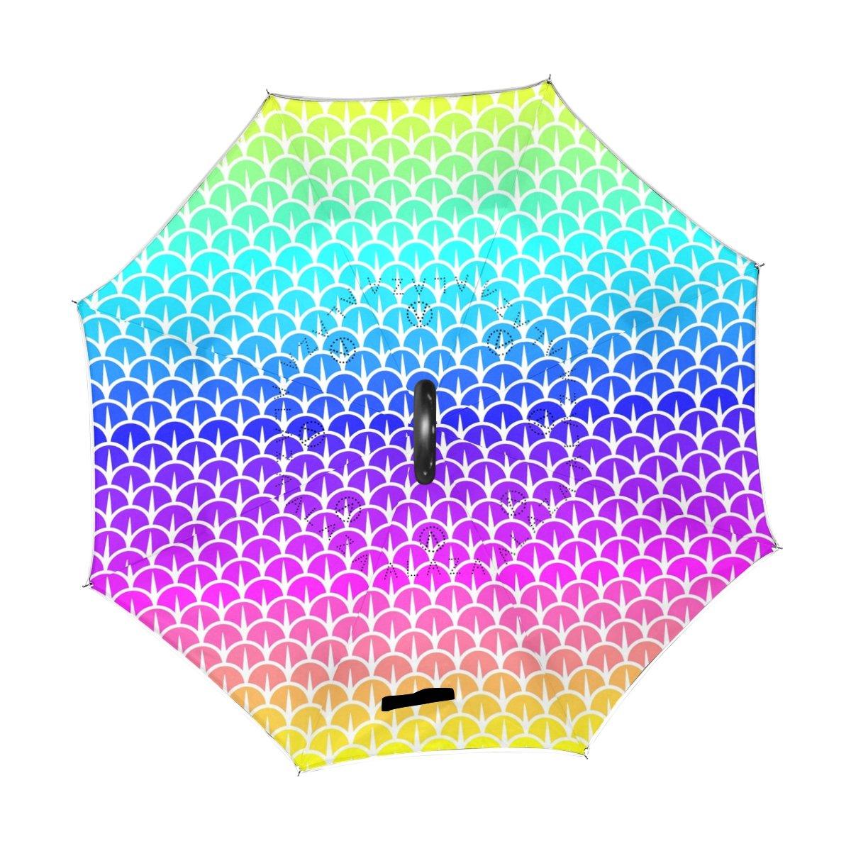ISAOA Paraguas Grande invertido Paraguas Resistente al Viento Doble Capa reversa Plegable Paraguas para Coche Lluvia Uso al Aire Libre Mango en Forma de C Auto pie b/ásculas Arco Iris Paraguas