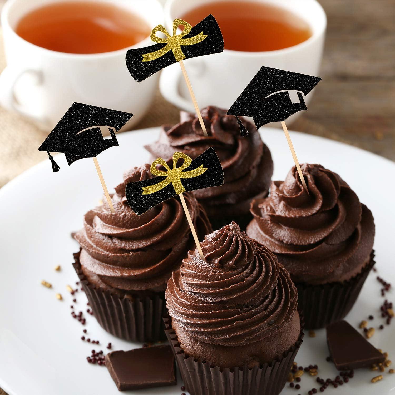 Whaline diploma e tappo Confezione da 51 decorazioni per torte di laurea 2020 per cupcake dessert per feste di laurea