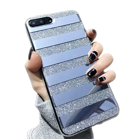 free shipping b73a5 febd0 iPhone 7 Plus/iPhone 8 Plus Case for Girls,Opretty Bling Luxury Glitter  Pretty Cute Powder Phone Case Mirror Reflex Striped Stars Pattern Back  Cover ...