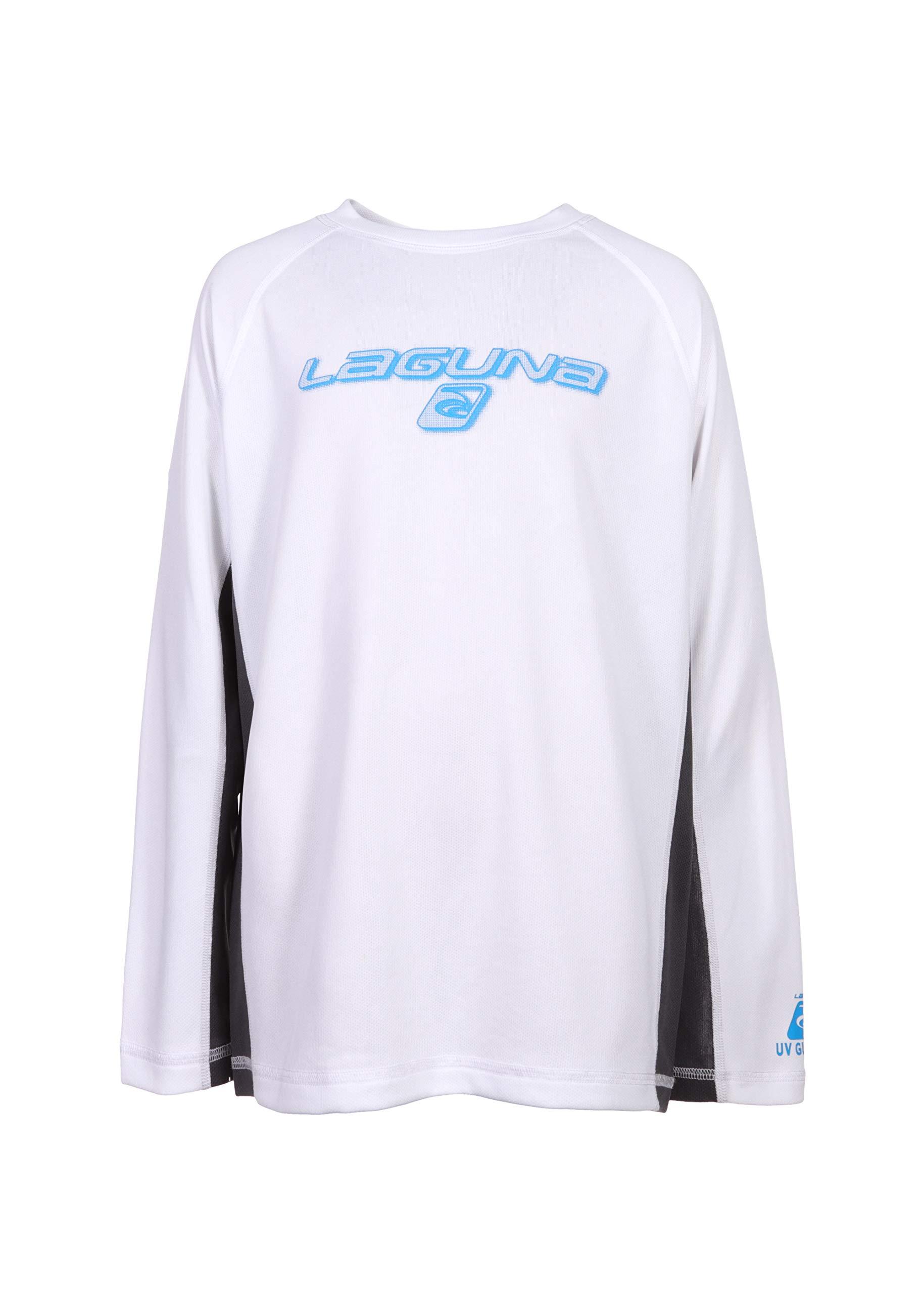 LAGUNA Boys Crewneck Long Sleeve Loose Fit Rashguard Swim Sun Tee Shirt, UPF 50+, White/Grey/Blue, 14/16