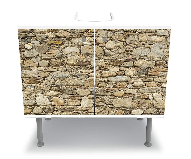 Mobile lavabo M1037 wandmotiv24 Mobile Bagno Muro di Pietra Color Grigio Incollato Frontale Lavabo