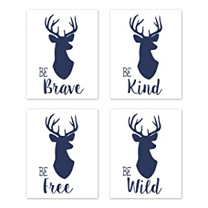 Sweet Jojo Designs Navy Blue and White Stag Wall Art Prints Room Decor for Baby, Nursery, and Kids for Woodland Deer Collection - Set of 4 - Be Brave, Be Kind, Be Wild, Be Free