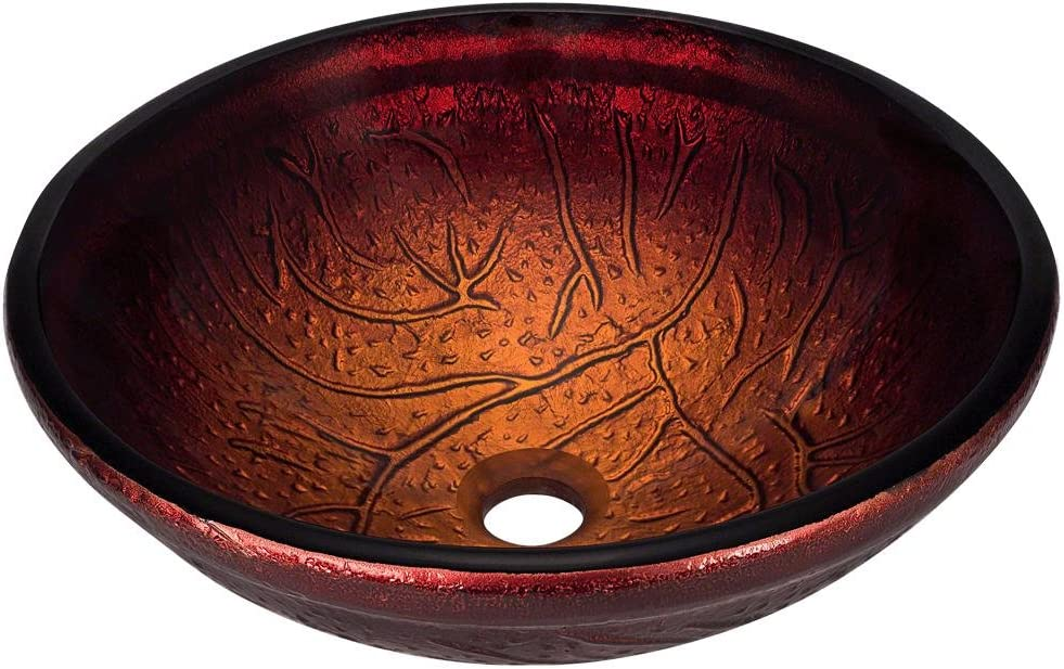 618 Red Lava Glass Vessel Bathroom Sink