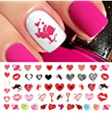 "Valentine's Day Nail Decals Set #2 Water Slide Nail Art Decals - Salon Quality 5.5"" X 3"" Sheet!"