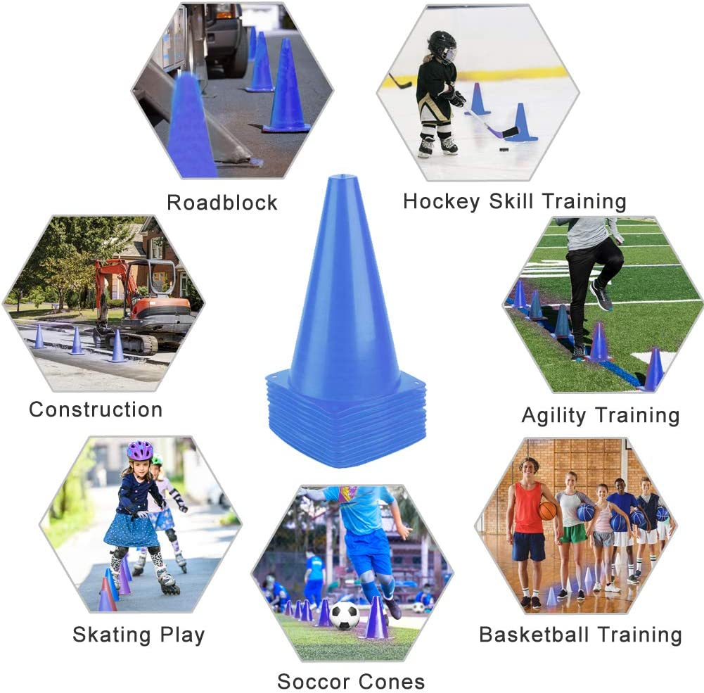 Festive Events Fitness Training PACEARTH 11 Inch Plastic Traffic Cones with Chequered Flags 10 Pack Agility Cones Thick Soccer Training Cones for Outdoor Activity Traffic Safety Practice