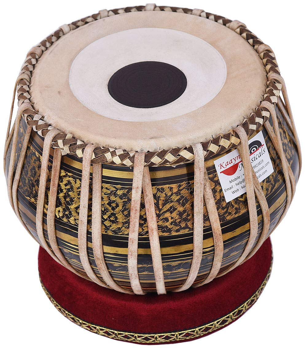Tabla Drum Set, 2.5 Kg Black Painted Designer Brass Bayan, Beautiful Look, Sheesham Wood Dayan, Hand Made Drum Skin, Camel Leather Strap to Tune, Comes with Tuning Hammer, Gig Bag, Cushion & Cover by Kaayna Musicals (Image #7)