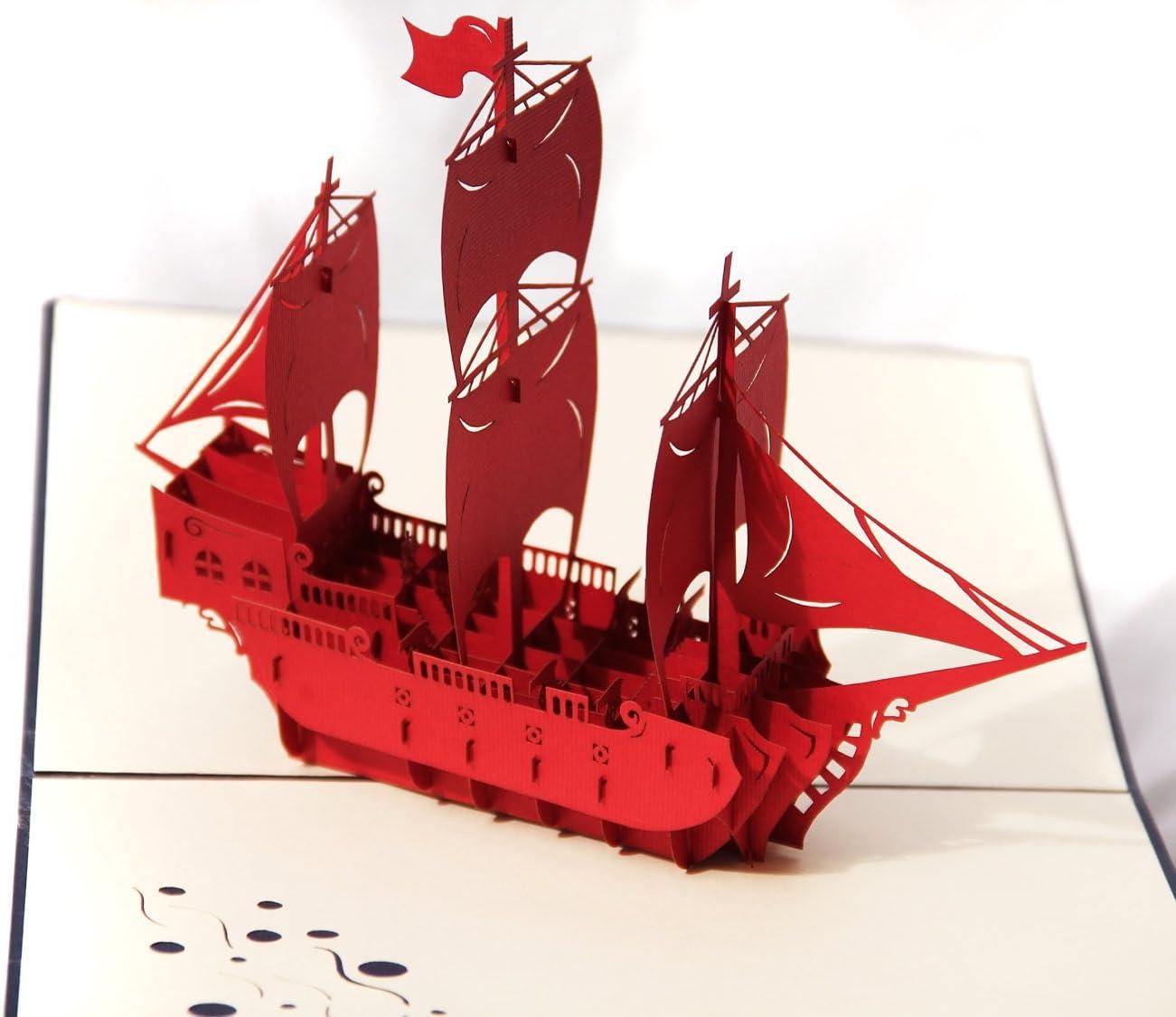 PopUpCard-40 - Barco, color rojo: Amazon.es: Oficina y papelería