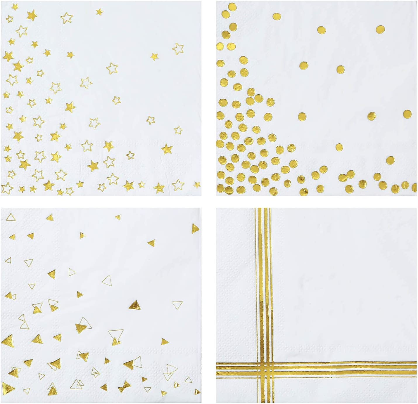Gexolenu Shiny Gold Foil Cocktail Napkins,- Decorative Paper beverage Dot Star Napkins, , Perfect for Wedding table decoration, Birthdays & Anniversary Parties, Daily Use(3-ply, 100 Pack,10