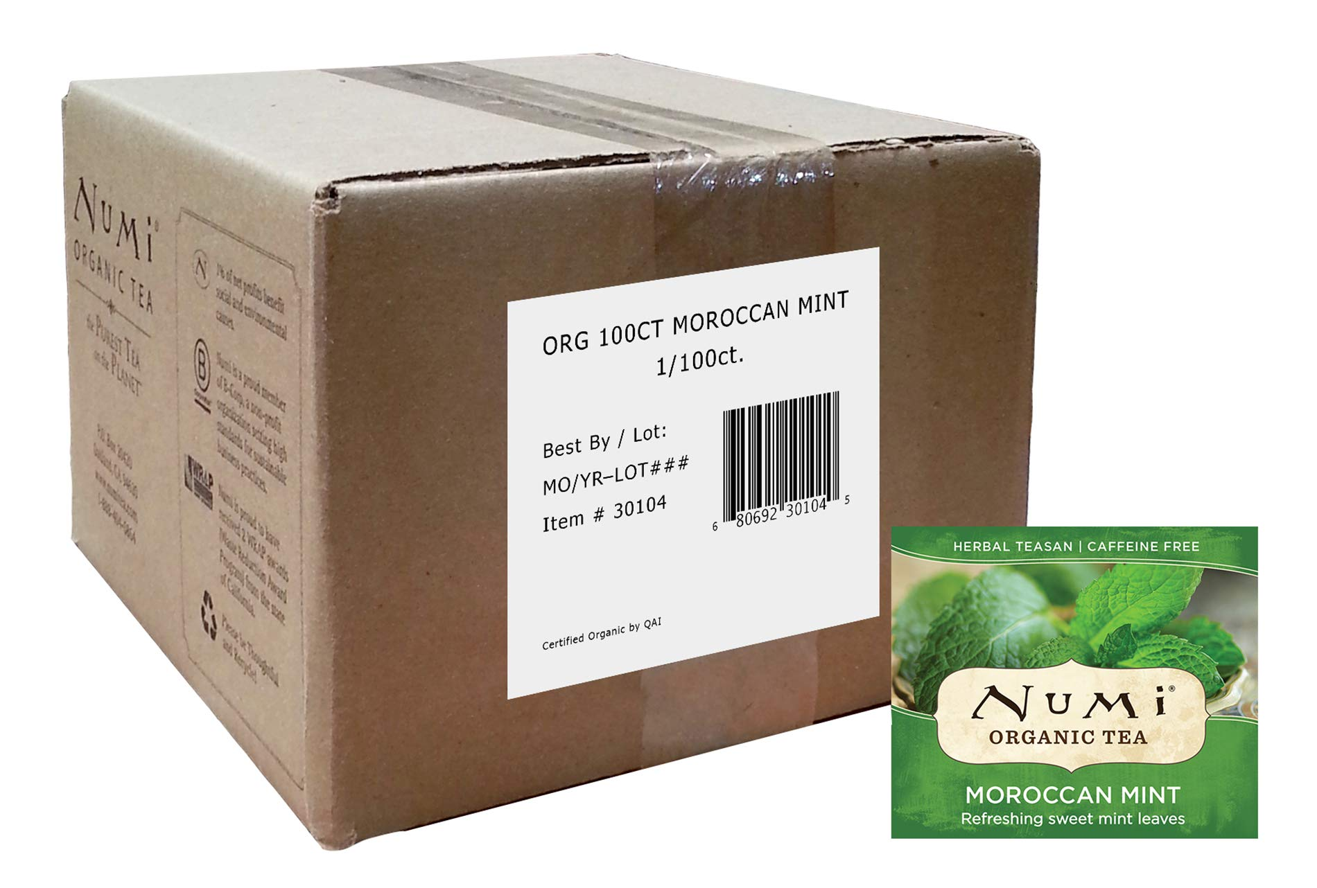 Numi Organic Tea Moroccan Mint, 100 Count Box of Tea Bags, Herbal Teasan (Packaging May Vary)