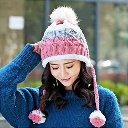 2b009adc1e962 Image Unavailable. Image not available for. Color  Lautechco® Female Winter  Hat Korean Tidal Knit Wool Cap Autumn And Winter Outdoor Warm Wool
