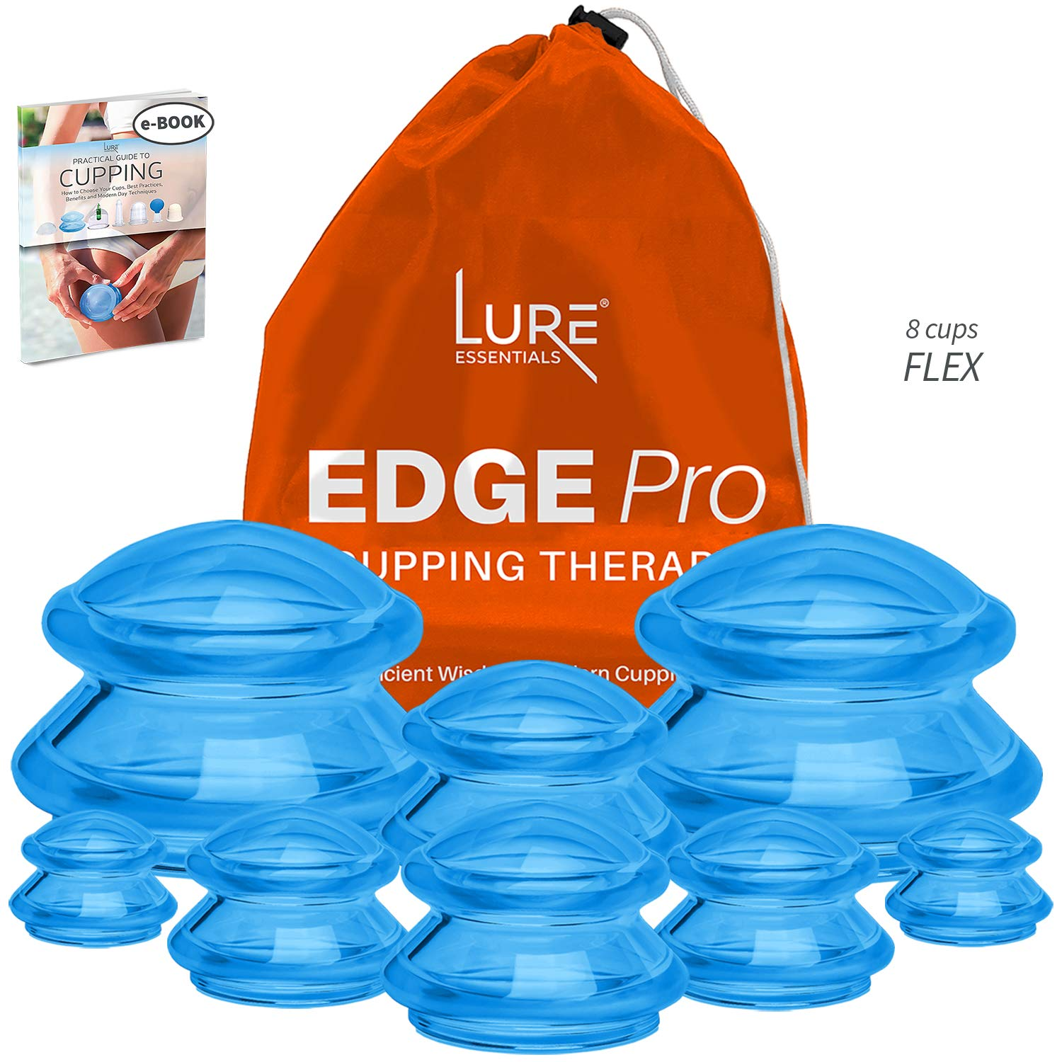 Edge Pro Cupping Therapy Sets - Cups for Cupping Silicone Vacuum Suction for Muscle, Joint Pain, Cellulite & More (Brilliant Blue, 8) by Lure Essentials