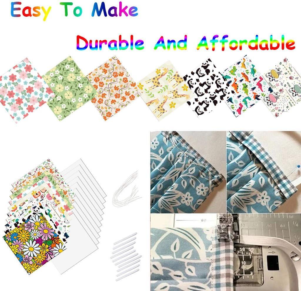 BOXIDO 7Pcs DIY Face Cover Material Kit,Reusable Craft Fabric Quilting Sewing Floral Patchwork,Elastic Band,Nose Bridge Strip,Non-Woven 25x25cm Bandanas Balaclava Neck Gaiters