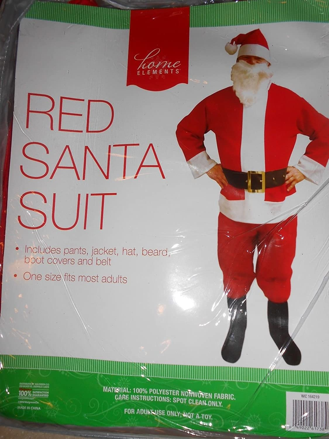 Amazon.com: Home Elements Red Santa Suit- One Size Fits Most: Home ...