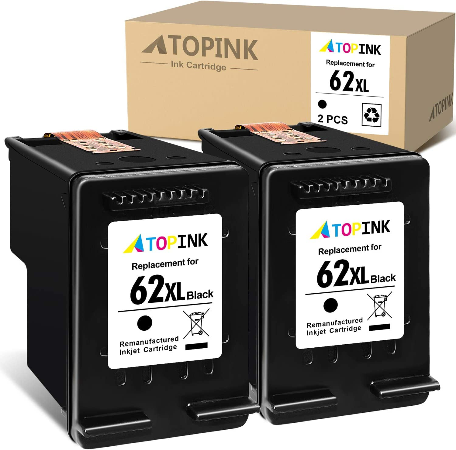 ATOPINK Remanufactured Ink Cartridge Replacement for HP 62XL 62 XL Compatible with OfficeJet 5740 250 200 8040 5745 5744 Envy 5660 5540 5640 7640 5661 5642 5542 5643 5665 5663 5664 7643 (Black) 2-Pack