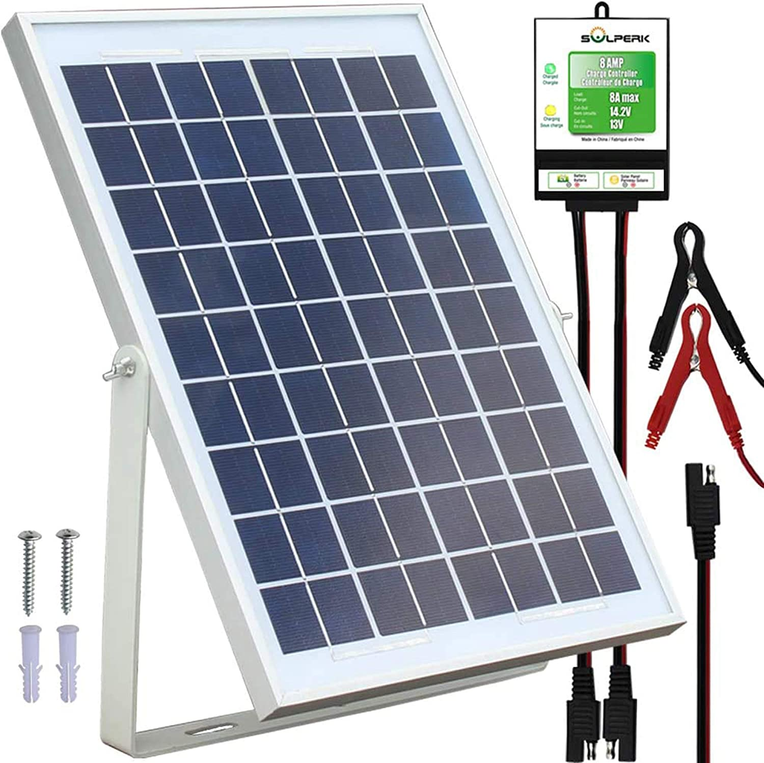 Solperk 10w Solar Panel Solar Trickle Charger Solar Battery Charger And Maintainer Suitable For Automotive Motorcycle Boat Atv Marine Rv Trailer Powersports Snowmobile Etc 10w Solar Panels Amazon Ca Patio Lawn Garden