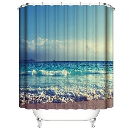 IiHOME Sea Beach Shower Curtains 3D Curtain Printing Digital Bath Decorations Blue Scene