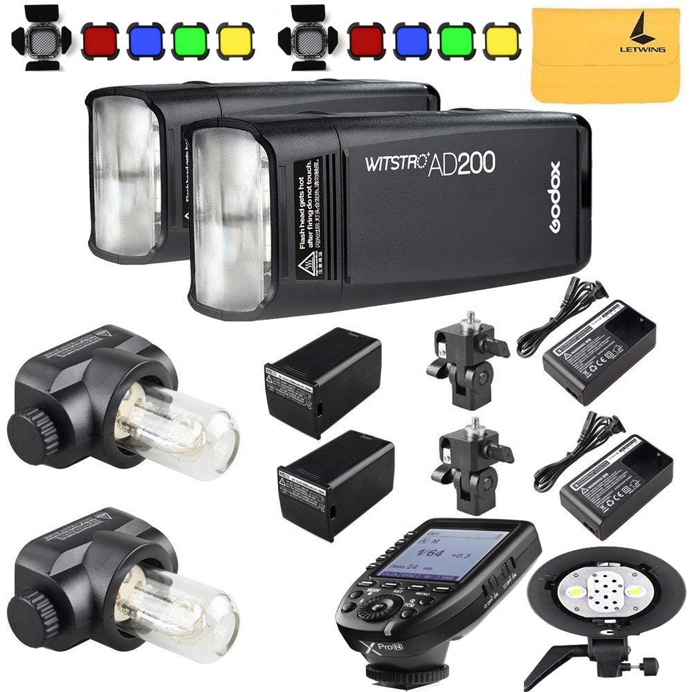 GODOX AD200 TTL 2.4G HSS 1/8000s 2X Pocket Flash Light Double Head 200Ws with 2900mAh Lithium Battery+GODOX AD-B2 Flash Head,BD-07,GODOX XPro-N Flash Trigger Compatible for Nikon(GODOX AD200 Kit) by Godox