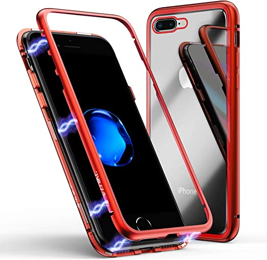 iPhone 8 Plus Case,iPhone 7 Plus Case, ZHIKE Magnetic Adsorption Case Metal Frame Tempered Glass Back with Built-in Magnet Cover for Apple iPhone ...