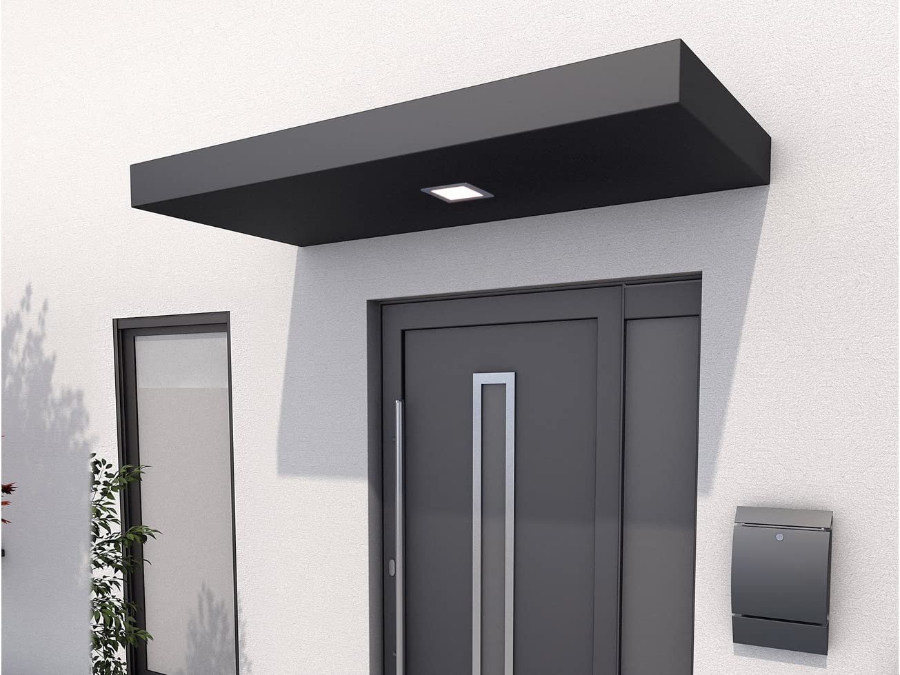 Aluminium anthrazit BxT GUTTA Rechteckvordach BS 160 160x90 cm 160 cm