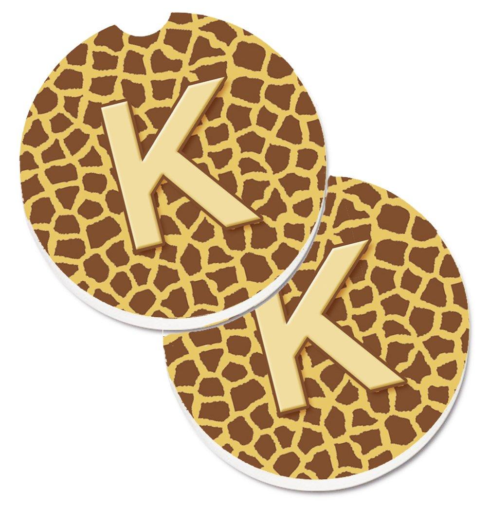 Carolines Treasures Monogram Initial K Giraffe Set of 2 Cup Holder Car Coasters CJ1025-KCARC 2.56 Multicolor