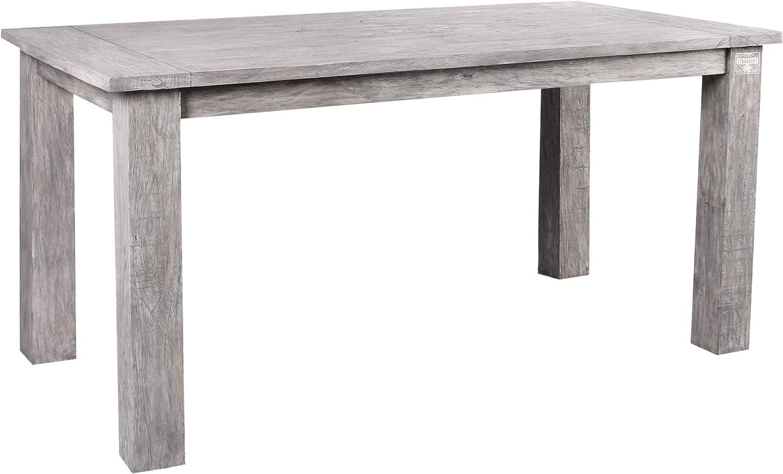 STRANDGUT07 - Mesa de jardín de madera de teca, aproximadamente 150 x 75 x 75 cm, gris lavado