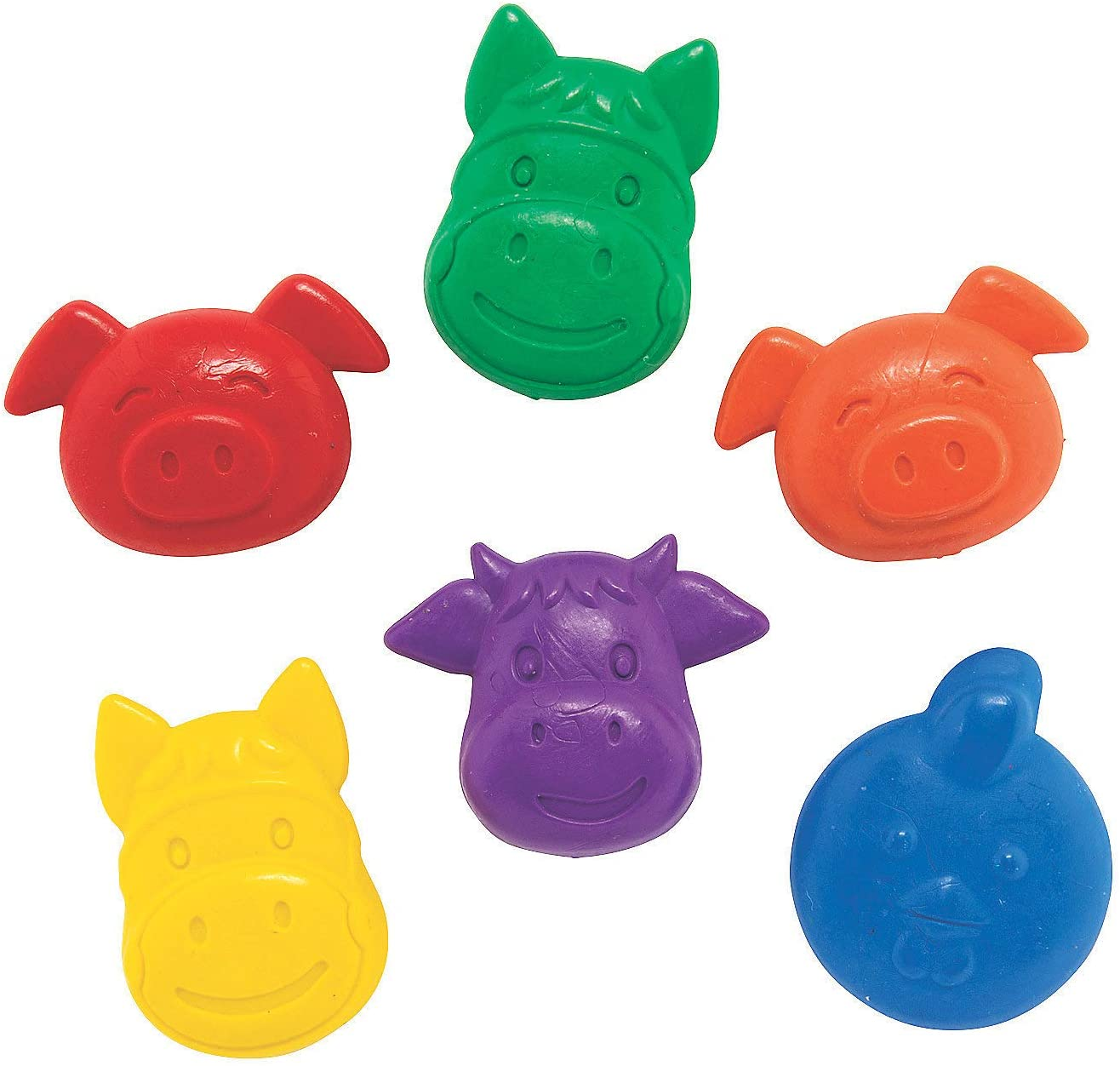 Educational and Learning Activities for Kids Fun Express Farm Animals Shaped Crayons 24 Pieces