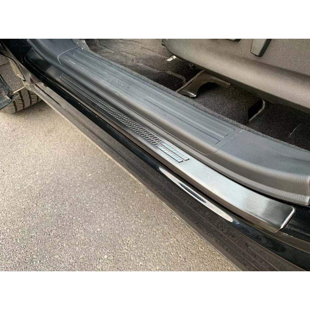 Black, Outside Kate Wenzhou automobile supplies factory Beautost Fit for Subaru New Forester 2019 Door Sill Scuff Plate Guard Cover Trims Stainless