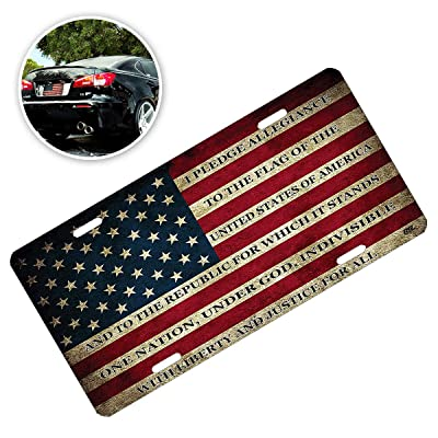 Zone Tech USA Flag License Plate - Premium Quality Thick Durable Tactical Novelty American Patriotic Pledge of Allegiance Car Tag: Automotive