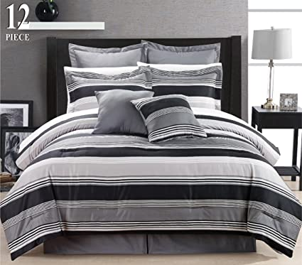 Amazon.com: 12 Piece Modern Bedding Black Grey White Stripe QUEEN