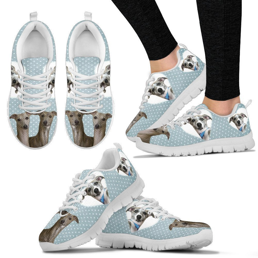 petkanvas Whippet with Hearts Print Womens Casual Sneakers