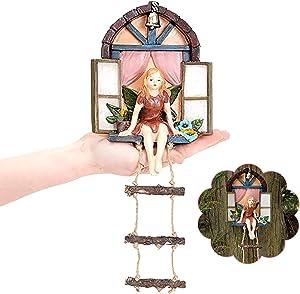 Fairy House with Ladder Hanging Tree Sculpture,Outdoor Tree Statue,Fairy Tree Hugger Garden Decor, Outdoor Yard Art, Whimsical Tree Sculpture Garden Decoration