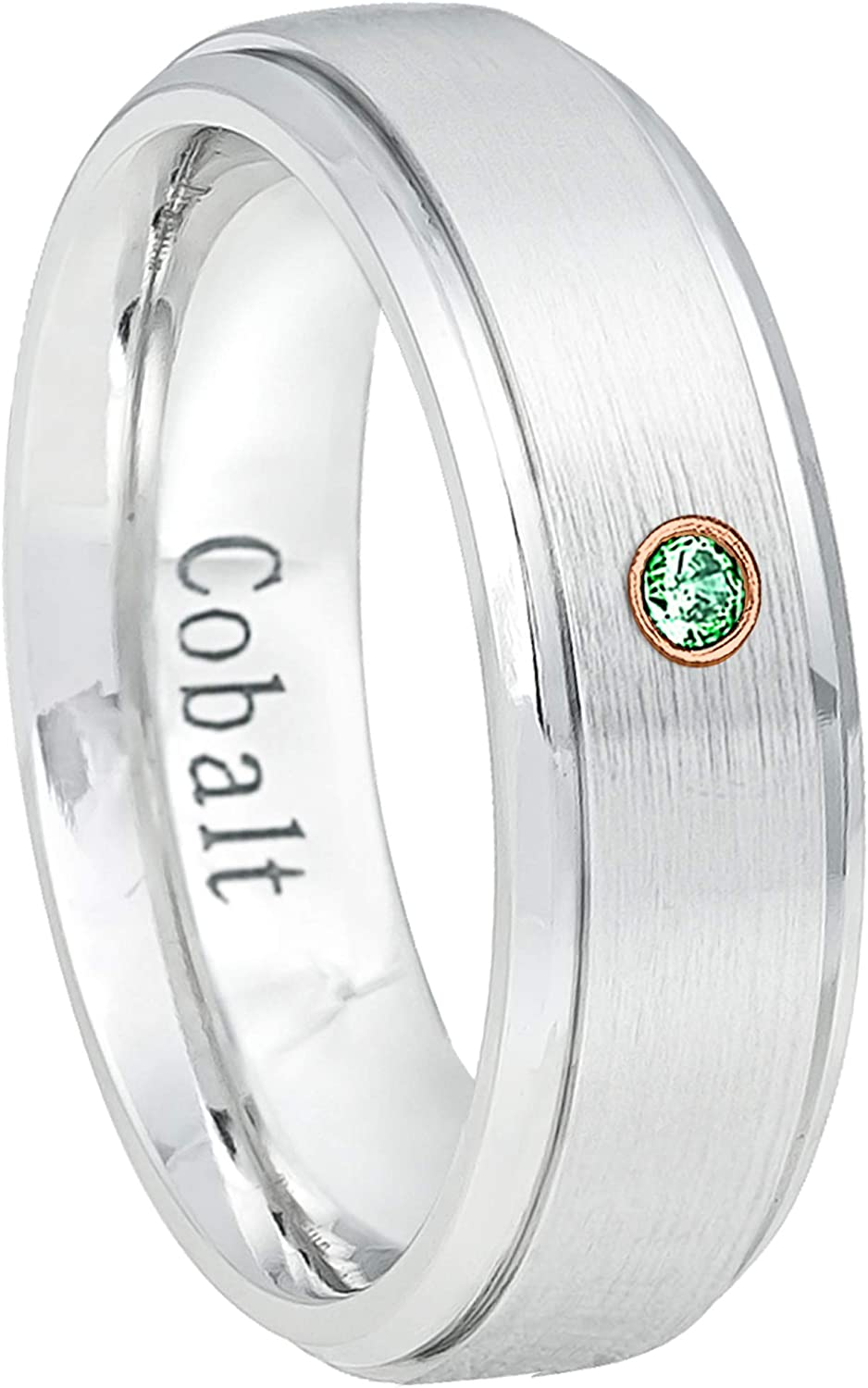 Jewelry Avalanche 7MM Comfort Fit Polished Dome Cobalt Chrome Wedding Band 7.5 0.07ct Emerald Cobalt Ring May Birthstone Ring