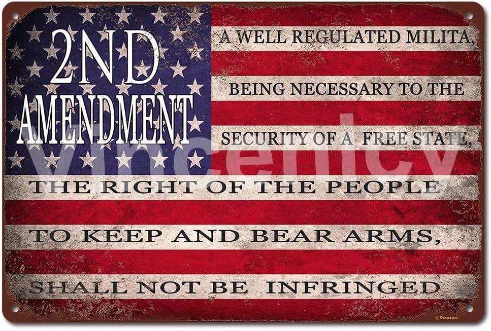 "2nd Amendment 8""x12"" Vintage American Flag Tin Sign Man Cave Decor Sign"