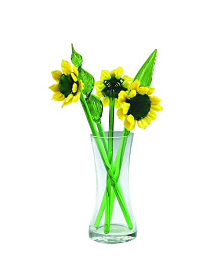 Amazon.com: NEW Hand Blown Gl Yellow Sunflower and Leaves Set ... on ls flower, sd flower, vi flower, ca flower, na flower, mn flower, pa flower, va flower, uk flower, dz flower, ve flower, sc flower,