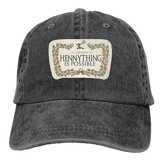 4a305bd971602 Joshuaet Hennything is Possible Unisex Adjustable Baseball Cap Funny Summer  Stylish Golf Hat Black