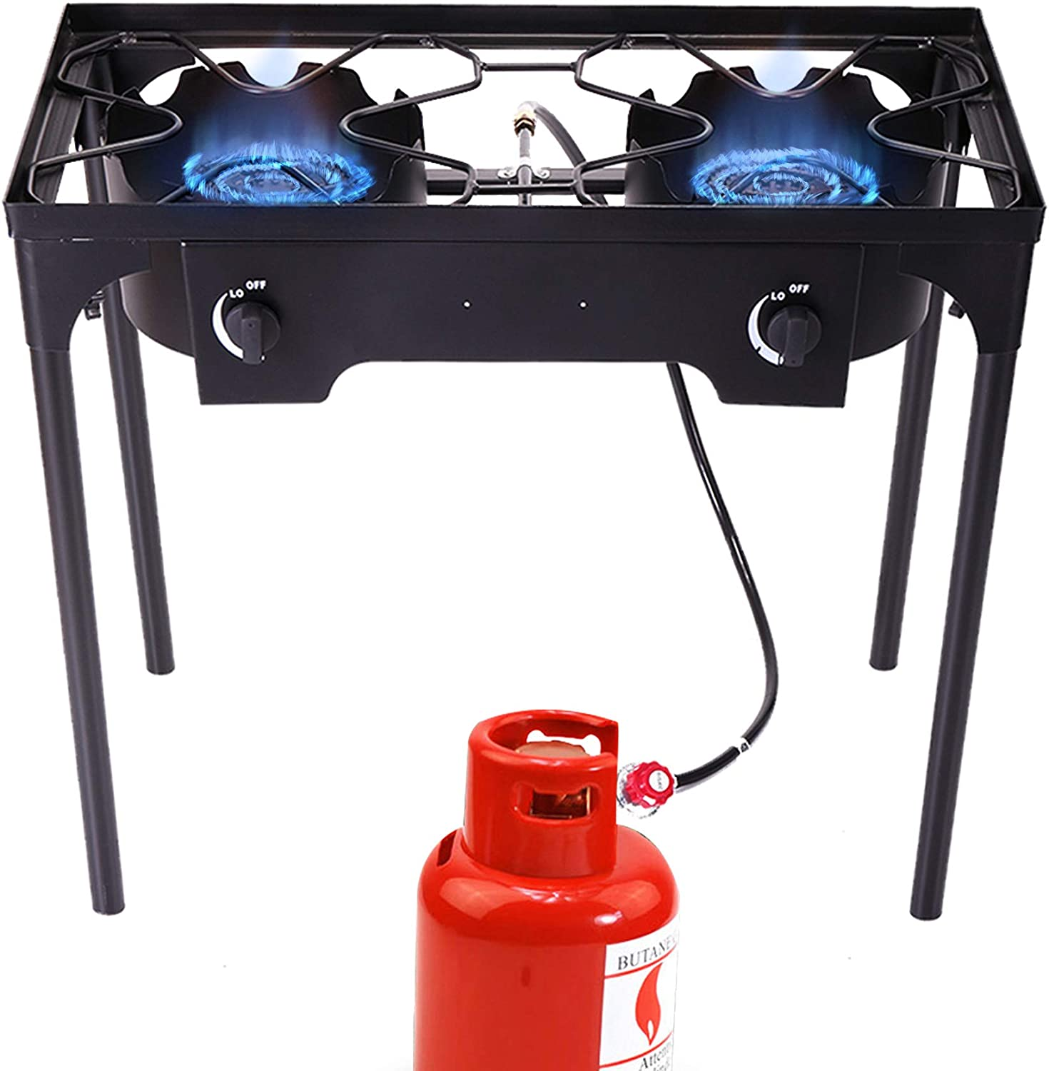 Sandinrayli Double Burner Outdoor Stand Stove Cooker Outdoor Camp Stove High Pressure Propane Gas w/Detachable Legs for Camp Cooking (Two Burner 180000 BTU)