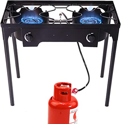 Sandinrayli Double Burner Outdoor Stand Stove Cooker Outdoor Camp Stove High Pressure Propane Gas w//Detachable Legs for Camp Cooking Two Burner 180000 BTU