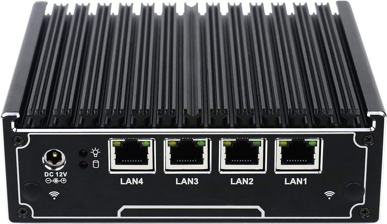 , Black 4G//1VGA//1COM//1USB2.0//1USB3.0//4 Intel 82583V LAN//Fanless HUNSN RX02 Network Security Appliance,Router PC,Intel Quad Core J1900, ,Firewall,VPN , 2G RAM//32G SSD