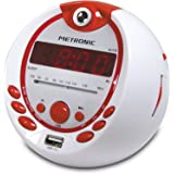 Metronic 477021 Radio-Réveil Enfant Pirate MP3 USB Projection 180°- Rouge et Blanc