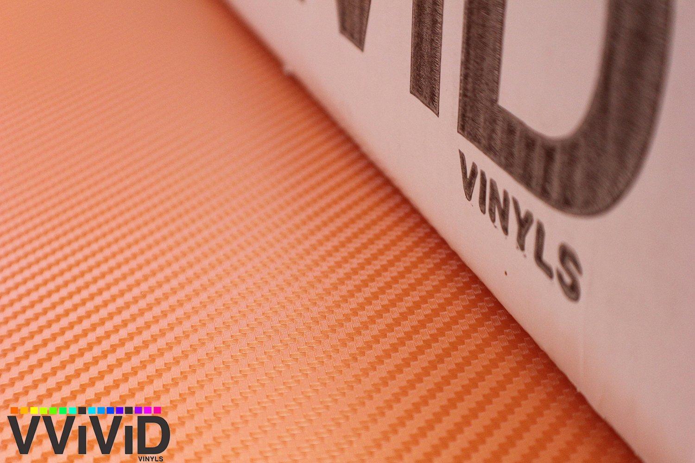4332992678 VViViD XPO Orange 3D Carbon Fiber Vinyl Wrap Roll with Air Release Technology 1ft x 5ft