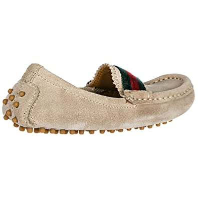 08bb1ff0794 Gucci Boys Shoes Baby Child Loafers Moccassins Suede Leather Beige UK Size  8.5 311472CEN209561