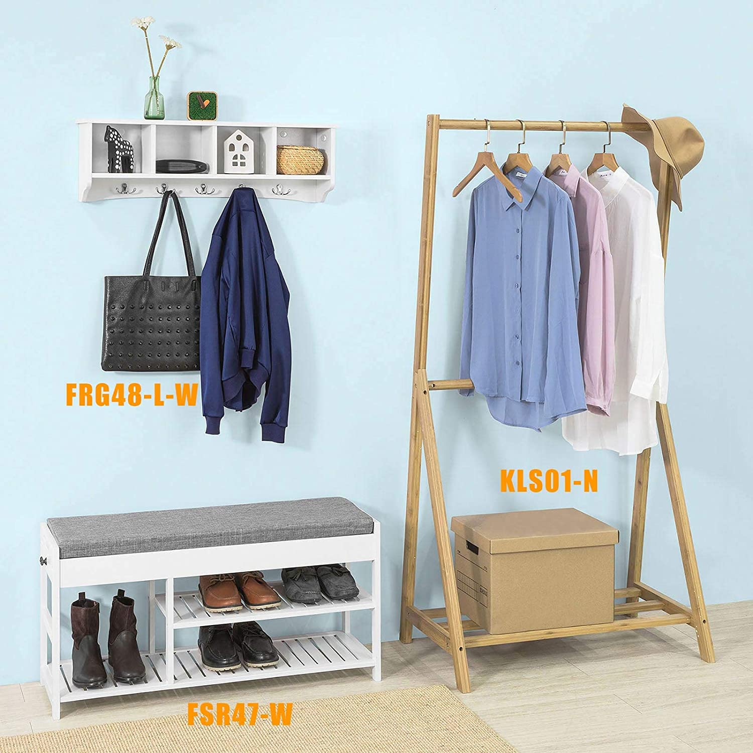 Hallway Shoe Storage Bench Organizer with Drawers Bamboo Shoe Rack Shoe Bench with Lift Up Bench Top and Seat Cushion SoBuy FSR47-N