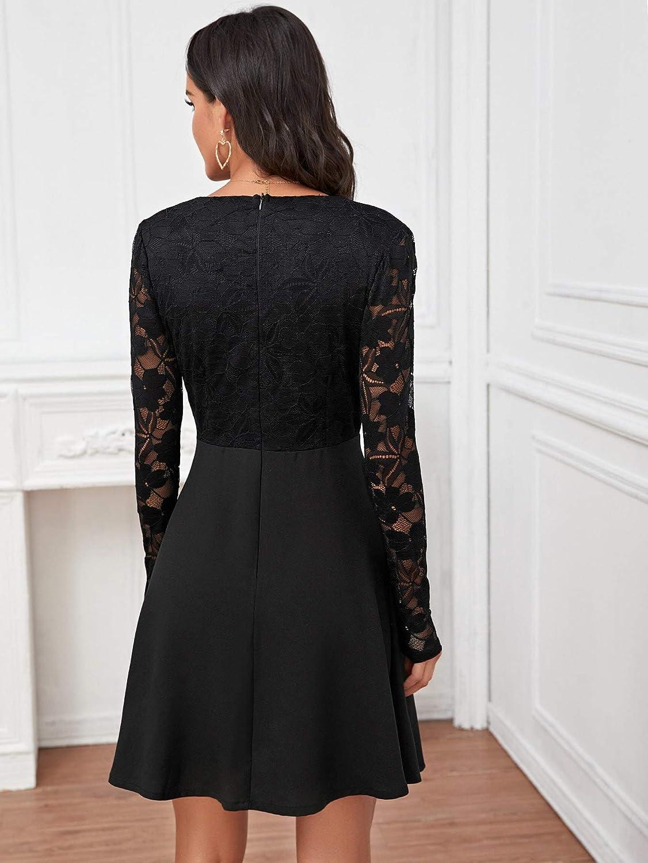 SOLY HUX Mini Robe Courte Femme avec Dentelle Col Motant Robe De Soir/ée El/égante Taille Haute /à Manches Longues