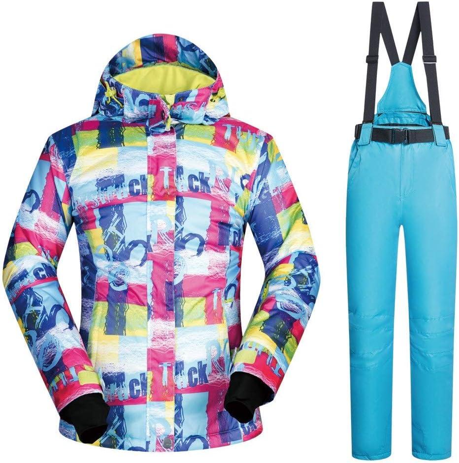 レディース防水ジャケット スキースーツレディーススーツウォームベニアダブルボード通気性防水防風スキーパンツスーツ スキー冬用ジャケット (色 : Light 青 pants, サイズ : L) Light 青 pants Large