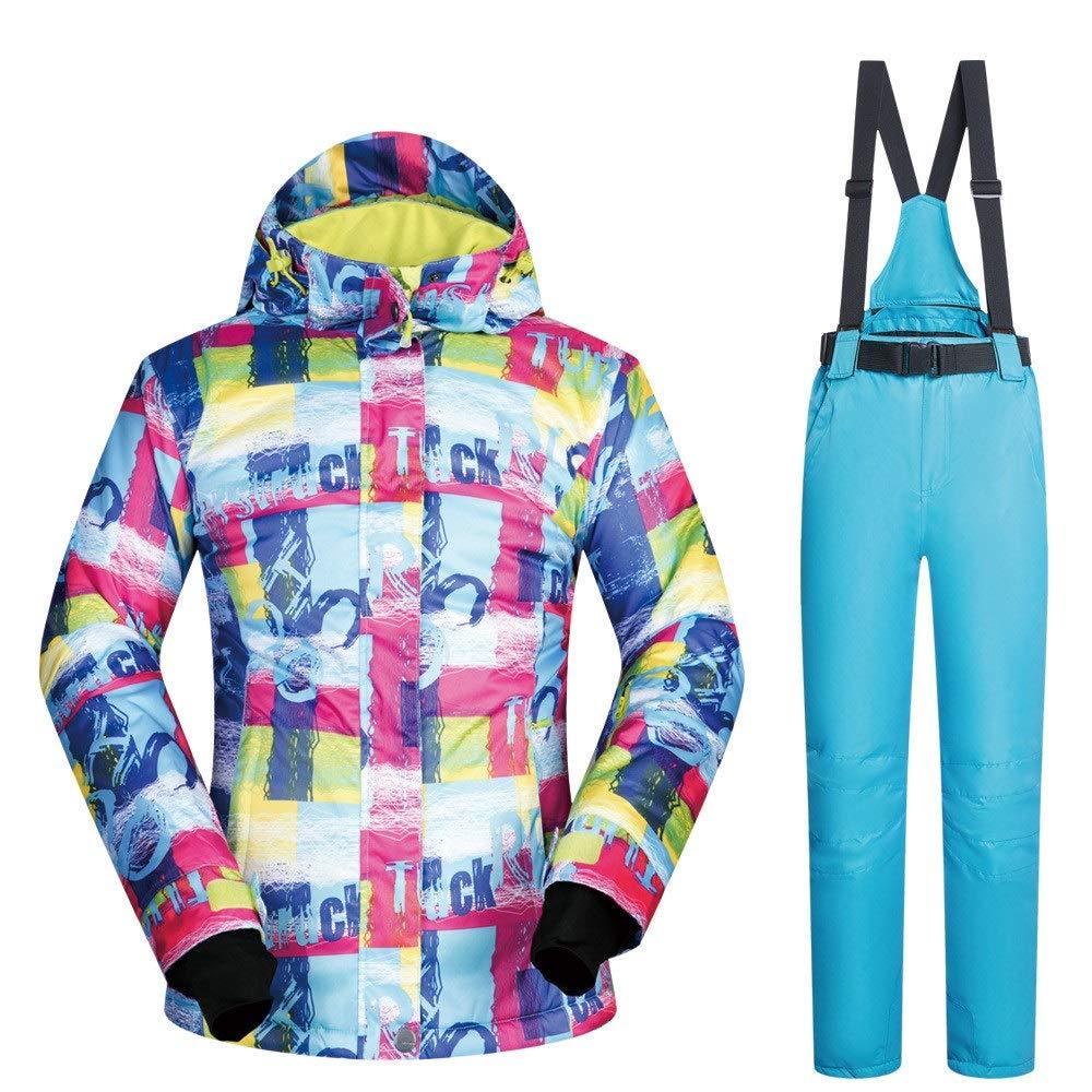 Skianzug Skijacke Frauen Wasserdichte Ski Snowboard Jacke wasserdicht Winddicht Schnee Mantel Ski Jacke und Hose Schnee isoliert Anzug (Farbe   Light Blau Pants, Größe   S)