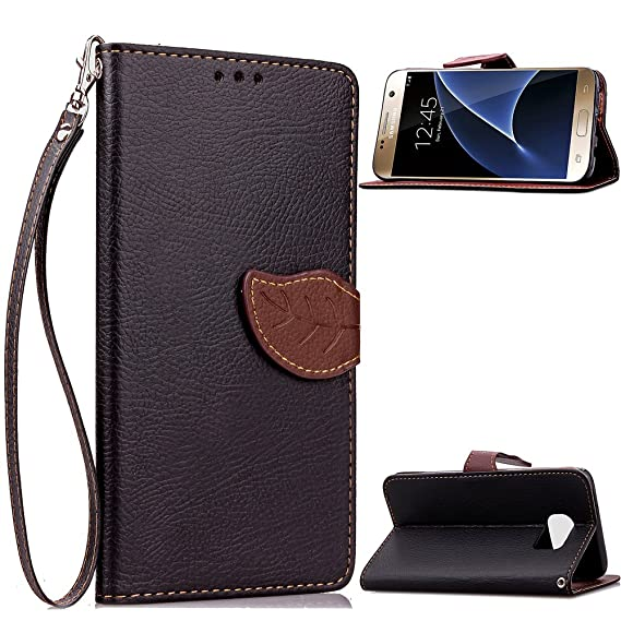 info for 0c2c5 b8a55 Galaxy S7 Wallet Case,OTRON Shockproof Slim Fit Soft PU leather Flip Folio  Kickstand Feature Stand Holder Cover With Wrist Strap And Card Slots Hidden  ...