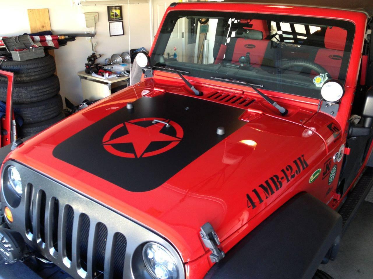 Amazoncom Jeep Wrangler Jk Hood Blackout Matte Black STAR Hood - Jeep hood decalsmatte black jeep hood decal