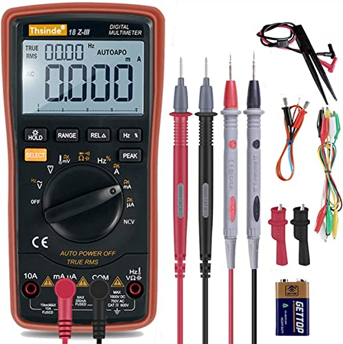 Auto-Range Digital Multimeter 20000 Counts 4 1 2 DC AC Resistance Capacitance Peak Hold True RMS NCV Diode Tester